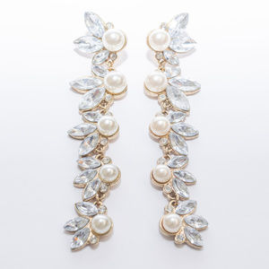 H&M Drop Earrings with Faux Pearls and Crystals